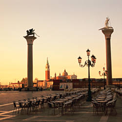 Low angle view of sculptures in front of a building, St. Mark's Square, Venice, Italy