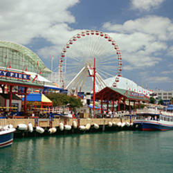 Boats moored at a harbor, Navy Pier, Chicago, Illinois, USA