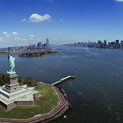 Aerial view of a statue, Statue of Liberty, New York City, New York State, USA