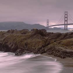 Waves Breaking On Rocks, Golden Gate Bridge, Baker Beach, San Francisco, California, USA