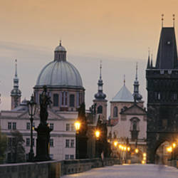 Lit Up Bridge At Dusk, Charles Bridge, Prague, Czech Republic