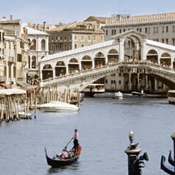 Bridge Over A Canal, Rialto Bridge, Venice, Veneto, Italy