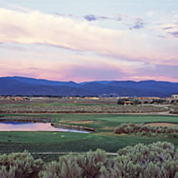 High Angle View Of A Golf Course, Taos, New Mexico, USA