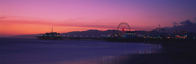 Santa Monica pier at dusk, Santa Monica, California, USA