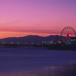 Santa Monica pier at dusk, Santa Monica, California, USA