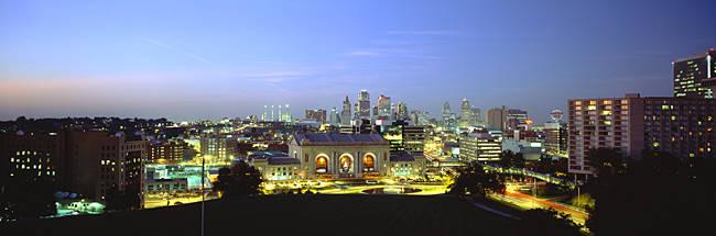 High Angle View Of A City Lit Up At Dusk, Kansas City, Missouri, USA