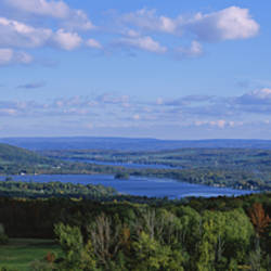 High angle view of a lake, Lamoka Lake, Waneta Lake, Finger Lakes, New York State, USA