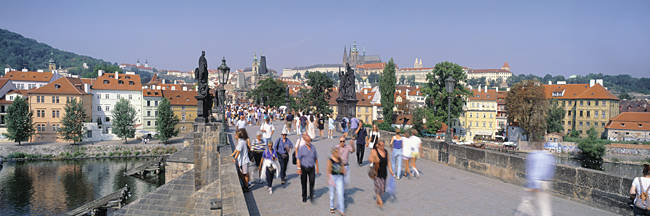 Tourists walking on a bridge, Charles Bridge, Prague, Czech Republic