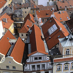 High angle view of buildings in a city, Czech Republic, Prague