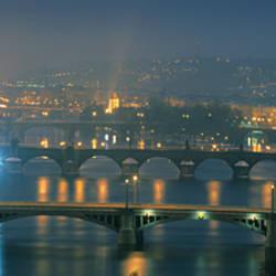 High angle view of a bridge at dusk, Charles Bridge, Prague, Czech Republic