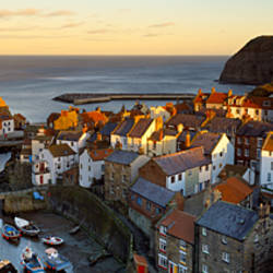 High Angle View Of A Village, Staithes, North Yorkshire, England, United Kingdom