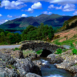 Bridge Over A Stream, Ashness Bridge, Keswick, Derwentwater, Lake District, Cumbria, England, United Kingdom
