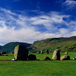 Sheep's Grazing In A Pasture, Castlerigg Stone Circle, Keswick, Lake District, Cumbria, England, United Kingdom