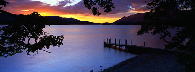 Silhouette Of A Jetty At Dusk, Ashness Gate Jetty, Lake District, England, United Kingdom