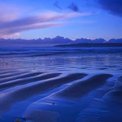 Sand Ridges Near A Bay, Filey Bay, Yorkshire, England, United Kingdom