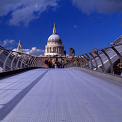 Railings on a bridge, Millennium Bridge, St. Paul's Cathedral, London, England