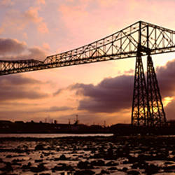 Low Angle View Of A Bridge, Transporter Bridge, Middlesbrough, North Yorkshire, England, United Kingdom