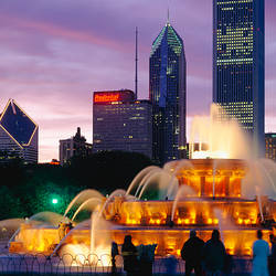 Fountain lit up night, Buckingham Fountain, Grant Park, Chicago, Illinois, USA