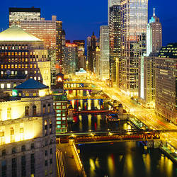 Buildings lit up at night, Chicago River, Chicago, Cook County, Illinois, USA