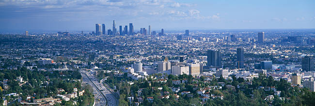 Aerial view of a city, Los Angeles, California, USA