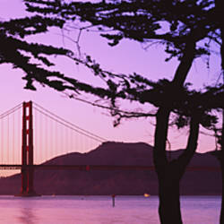 Suspension Bridge Over Water, Golden Gate Bridge, San Francisco, California, USA