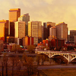 Buildings at the waterfront, Bow River, Calgary, Alberta, Canada