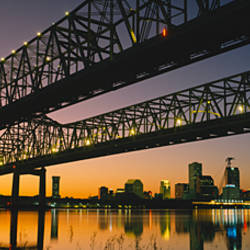 Low angle view of a bridge across a river, New Orleans, Louisiana, USA