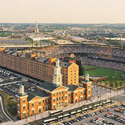 Aerial view of a baseball stadium in a city, Oriole Park at Camden Yards, Baltimore, Maryland, USA