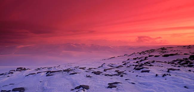 Snow covered landscape at dusk, Fjord, Iceland