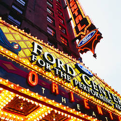 Low angle view of neon signs on a building, Ford Center for the Performing Arts Oriental Theatre, Chicago, Illinois, USA