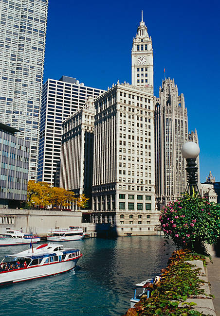 Skyscrapers in a city, Tribune Tower, Wrigley Building, Chicago, Illinois, USA