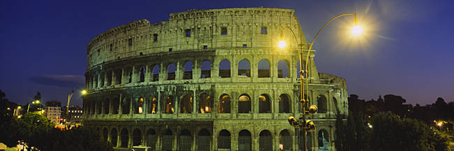 Ancient Building Lit Up At Night, Coliseum, Rome, Italy