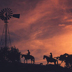 Sunset, Cowboys, Texas, USA