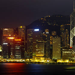 Buildings Lit Up At Night, Hong Kong, China