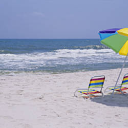 Chairs on the beach, Gulf of Mexico, Alabama, USA