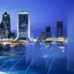Fountain, Cityscape, Night, Jacksonville, Florida, USA