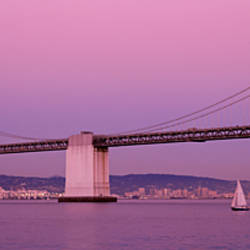 Suspension bridge over a bay, Bay Bridge, San Francisco, California, USA