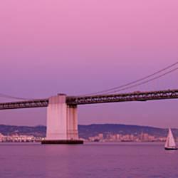 Suspension bridge over a bay, Bay Bridge, San Francisco, California, USA