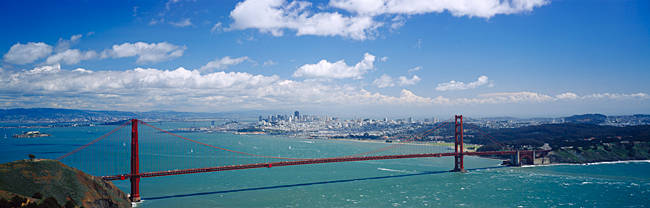 High angle view of a suspension bridge across a bay, Golden Gate Bridge, San Francisco, California, USA