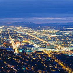 Aerial view of a city lit up at dusk, Salt Lake City, Utah, USA