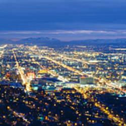 Aerial view of a city lit up at dusk, Salt Lake City, Utah, USA