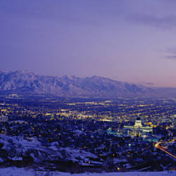 Aerial View Of A City At Dusk, Salt Lake City, Utah, USA