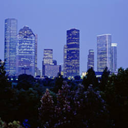 Buildings lit up at dusk, Houston, Texas, USA