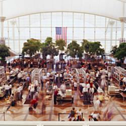 High angle view of passengers at a concourse of an airport, Denver International Airport, Denver, Colorado, USA