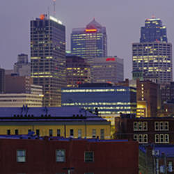Buildings lit up at dusk, Kansas City, Missouri, USA
