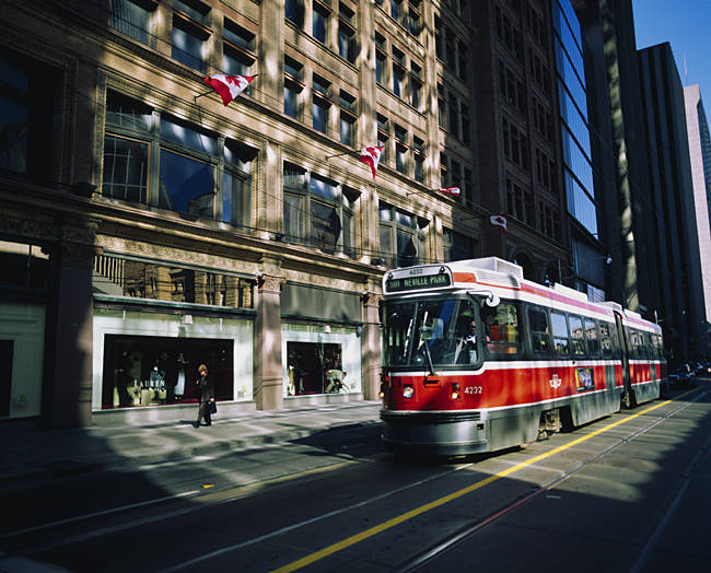 Cable car moving on a road, Toronto, Ontario, Canada