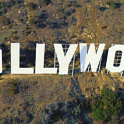 USA, California, Los Angeles, Aerial view of Hollywood Sign at Hollywood Hills