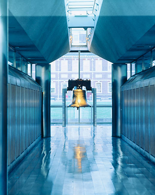 Liberty bell hanging in a corridor, Independence Hall, Philadelphia, Pennsylvania, USA
