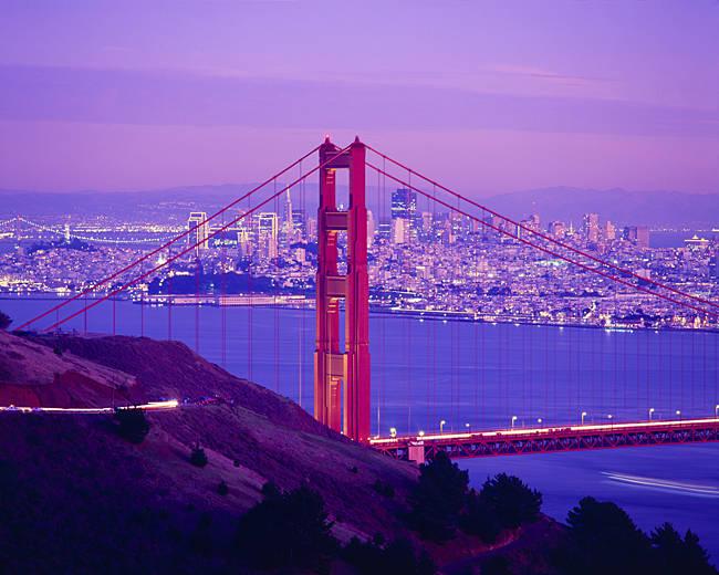 USA, California, San Francisco, High angle view of Golden Gate Bridge and the city