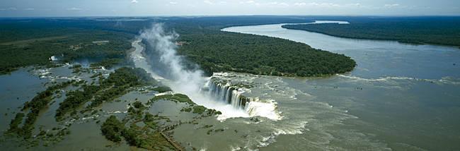 High angle view of a waterfall, Iguacu Falls, Iguacu River, Iguacu National Park, Parana State, Brazil